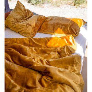 Urban Outfitters Skye Velvet Duvet Cover in Gold